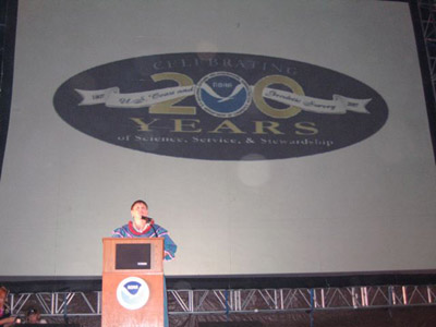Eileen Shea, Director of the NOAA IDEA Center, was the Master of Ceremony honoring NOAA's 200th Anniversary at Sunset on the Beach on Sunday.